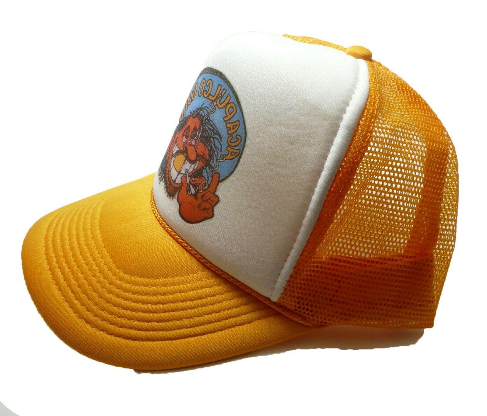 Vintage Acapulco hat trucker cap Snap back yellow new