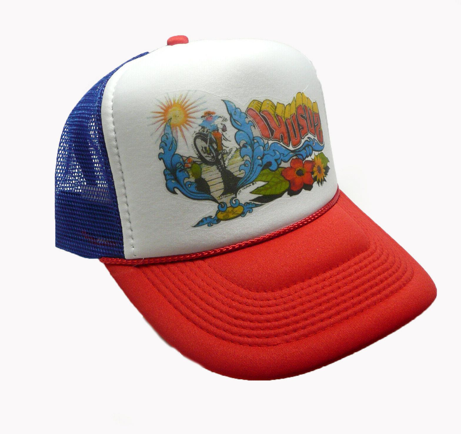 vintage suzuki motorcycle trucker hat snap back