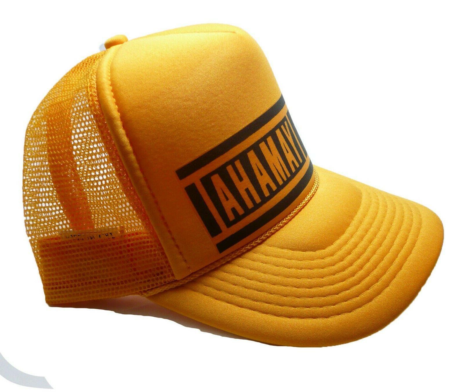 Vintage 80's racing hat snapback cap yellow New