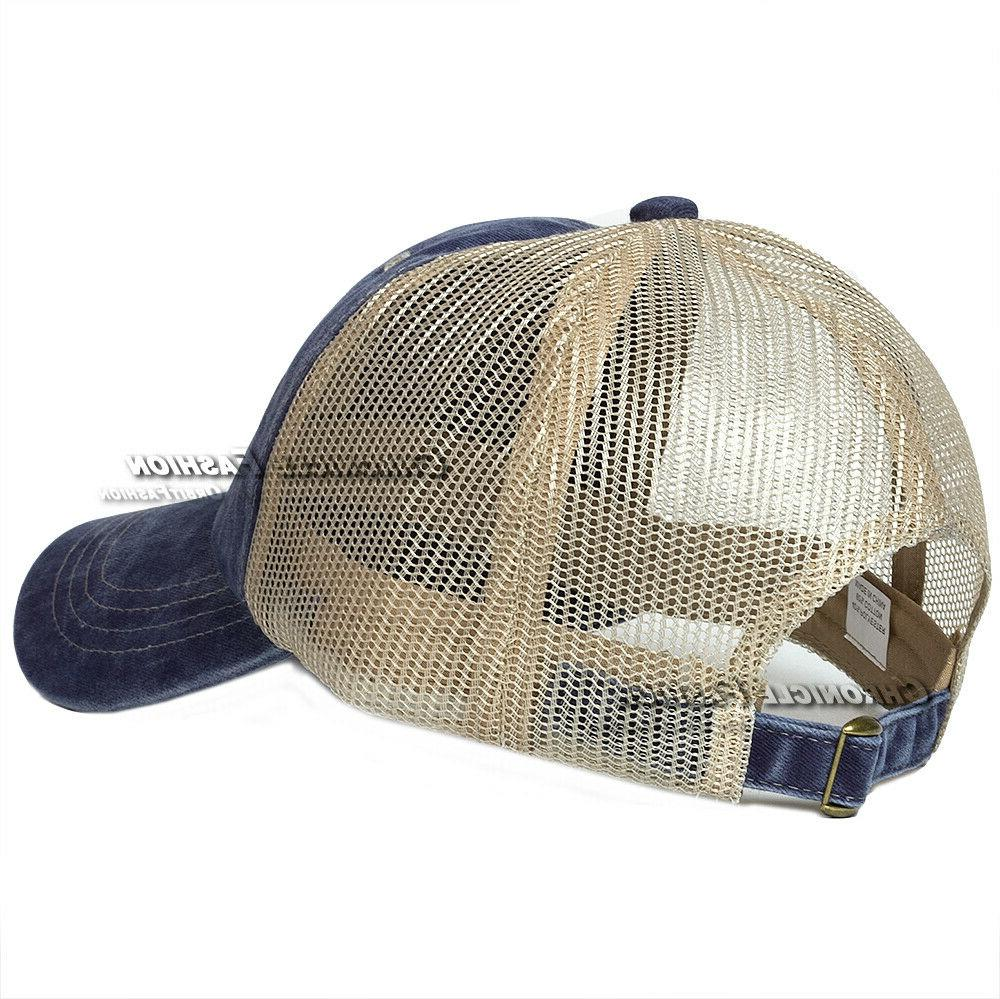 Washed Cotton Trucker Mesh Style Adjustable Blank