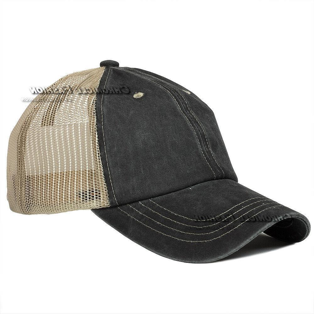 Washed Trucker Mesh Cap Adjustable Caps
