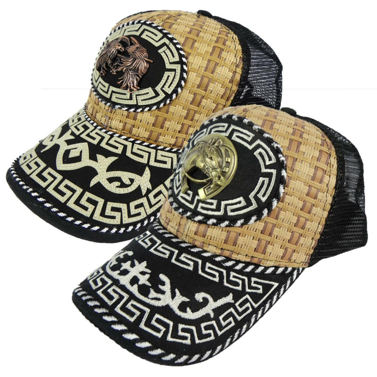 Western Cowboy Style Hat Snapback Trucker Embroidered Metal