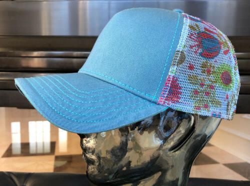 Womens Hat/Cap Floral Yoga Teal,