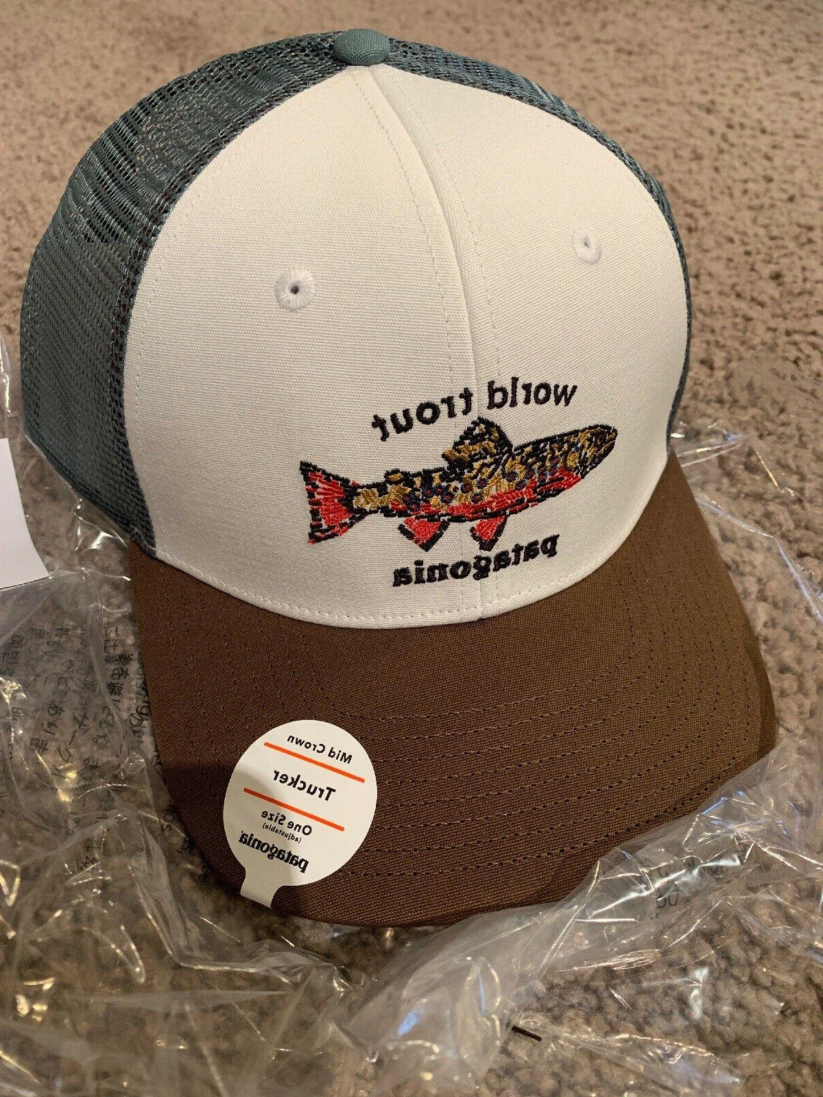 world trout brook fish stitch trucker hat
