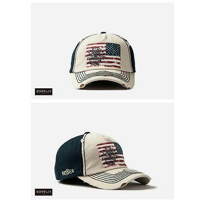 XL~2XL Unisex Mens Flipper Ripped American Flag Baseball