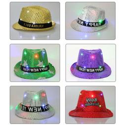 LED Fedora Hat Light Up Sequins Mens Womens Black Novelty Pa