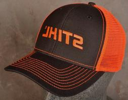 Stihl Logo Orange Black Cap ~ Adjustable ~ Trucker Hat ~ Cha