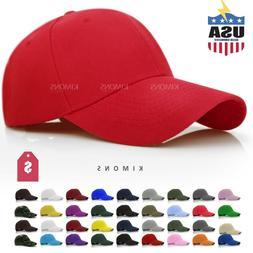 Plain Baseball Cap Solid Color Blank Curved Visor Hat Ball A