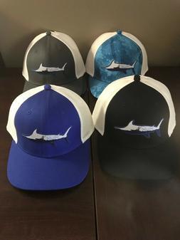 Huk Marlin Sporty Patch Trucker Hat, Stretch back, Multiple