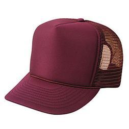 Maroon Trucker Hat - Foam Mesh Cap - Adjustable Snapback Bur