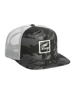 RVCA Men's All the Way Trucker Hat Black Camo Snap Back Cap