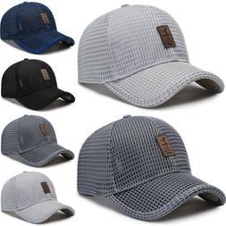 Men's Baseball Cap Trucker Hat Snapback Solid Visor Mesh Spo