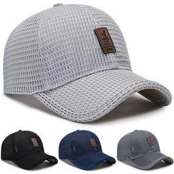 Men's Baseball Cap Trucker Hat Snapback Solid Visor Mesh Pla