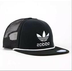 adidas Men's Originals Trefoil Trucker Cap, Black/White, One