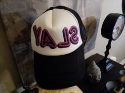 """Men's Retro Funky Punk Spray It Hat:  """"SLAY""""  Trucker's Hat"""
