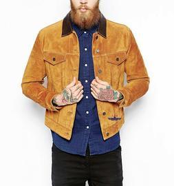 Men TRUCKER Tan Suede Classic Western Denim Style Leather Ja