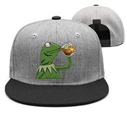Mens funny-green-frog-sipping-tea wool trucker hat cap women