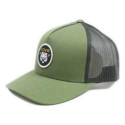 RVCA Mens Saber Curved Trucker Snapback Hat Moss One Size Ne