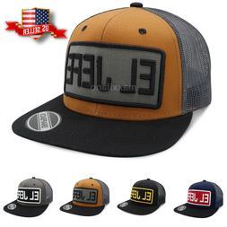 Mens Snapback Mesh Hat Adjustable Size Trucker Hats Flat Bri