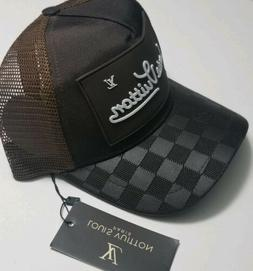 Mesh Checkered Leather Luxury Designer Trucker Hat - Curved