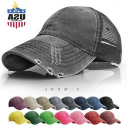 Mesh Back Distressed Trucker Cap Hat Cotton Solid Washed Pol