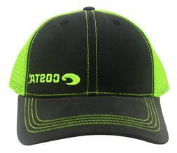 Costa Del Mar Neon Trucker Black Twill Hat Green Adjustable