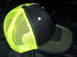 Neon Yellow  green mesh back trucker hat Black Frnt Quality