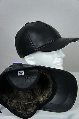 New Black 100% Shearling Leather Earflaps Baseball Cap Hat B