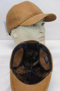 New Cognac 100% Shearling Leather Earflaps Baseball Cap Bike