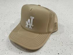 NEW CREAM LOS ANGELES LA CAP HAT 5 PANEL HIGH CROWN TRUCKER