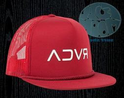 New RVCA Foamy Mens Dark Red Mesh Snapback Trucker Cap Hat