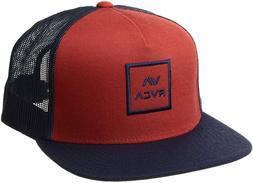 NEW RVCA Men's All the Way Trucker Snapback Hat - Red/Blue