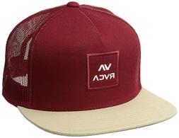 NEW RVCA Men's All the Way Trucker Snapback Hat - Red/Tan Co
