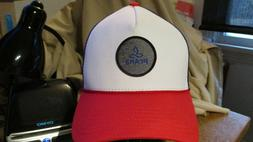 NEW PRANA MENS RED/WHITE/BLUE TRUCKER SNAP BACK HAT