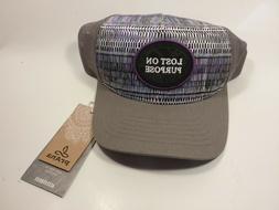 "New NWT Prana Trucker Hat ""Lost on Purpose"" Gray Purple Blac"