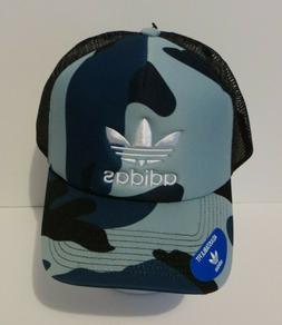 NEW Adidas Originals Foam Trucker Mesh Cap Hat Blue Camoufla