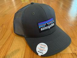 NEW PATAGONIA P6 LOGO MID CROWN TRUCKER HAT FORGE GREY SNAPB