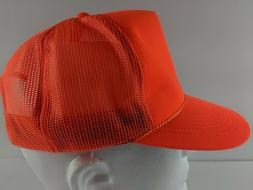 NEW Vintage 90s Trucker Hat Neon Orange Outdoor Hunting Rope
