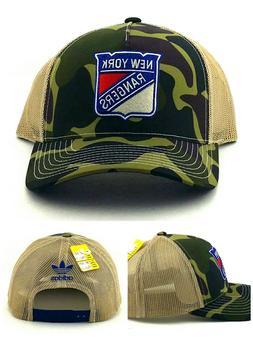 New York Rangers Adidas New Camo Blue Red Tan Mesh Trucker E