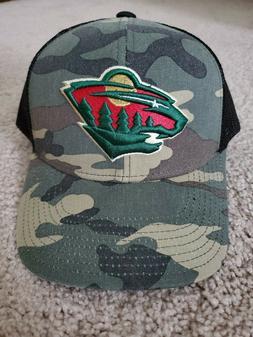 NWOT Minnesota Wild adidas Mesh Trucker Hat Camo & Black NHL