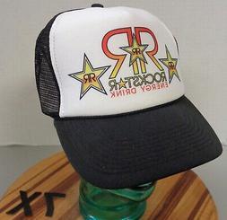 NWOT ROCK STAR ENERGY DRINK TRUCKER HAT BLACK/WHITE SNAPBACK