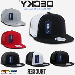 NWT DECKY 6 Panel FLAT Bill Trucker Hats Hat Cap Snapback Co