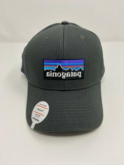 NWT Patagonia P-6 Logo Mid Crown Trucker Hat - Forge Grey  #