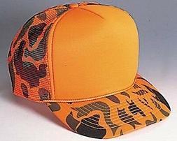 Orange Camouflage Trucker Hat mesh hat snap back hat Hunting