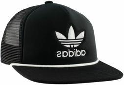 ADIDAS Originals Men's Trefoil Trucker Hat Snapback Black Wh