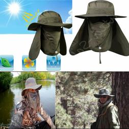 Outdoor Snap Hat Brim Ear Neck Cover Sun Flap Cap Visor Fish
