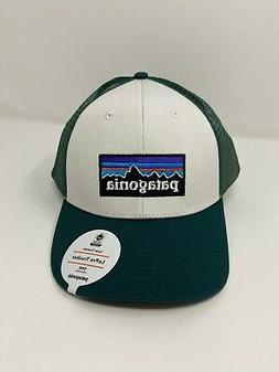 Patagonia P6 Lopro Trucker Hat - White/Piki Green - Rare Fin