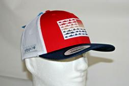 Columbia PFG Fish Flag Mesh Snap Back Ball Cap in Red Sparks