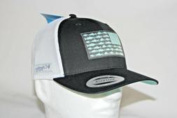 Columbia PFG Fish Flag Mesh Snap Back Ball Cap in Black and