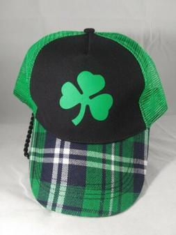 Plaid Trucker Style Hat, Clover Green/ Black Mesh Snap Back,